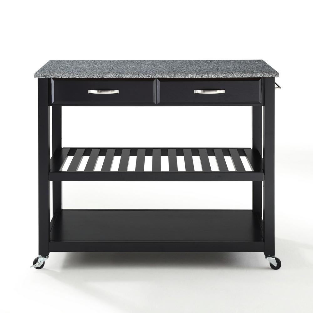 Crosley Black Kitchen Cart With Granite Top KF30053BK