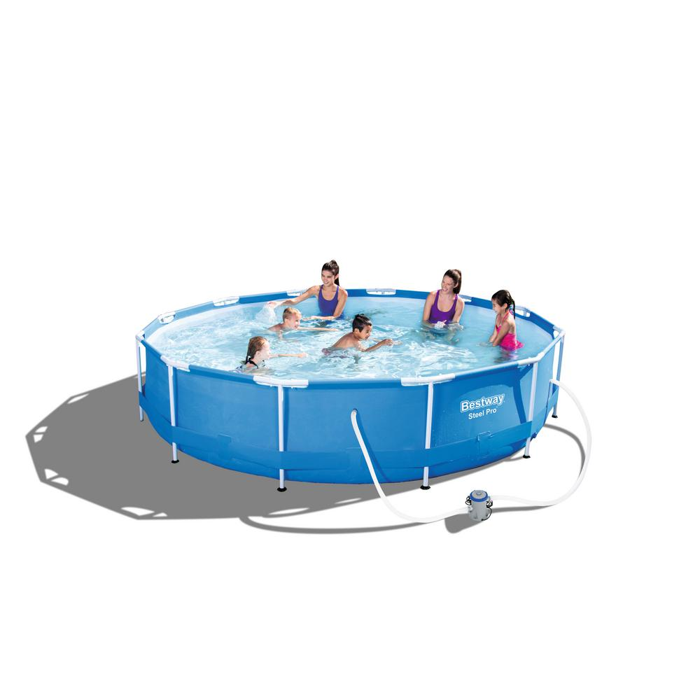 Intex 15 ft wide x 48 in deep round metal frame pool set for Billige pool sets