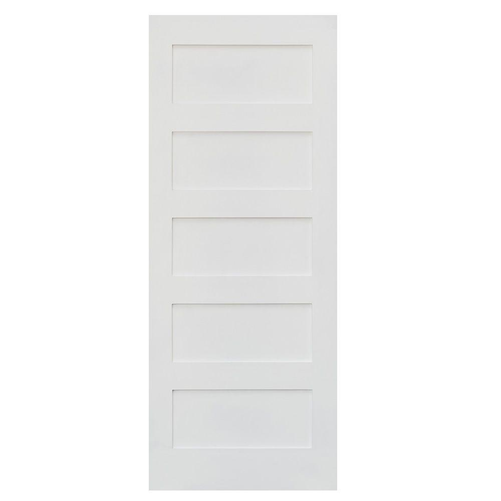Krosswood Doors 24 In X 80 In Shaker 5 Panel Primed Solid Core Mdf Left Hand Single Prehung
