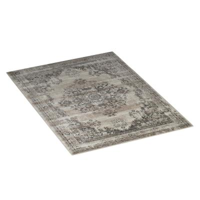 Gray and Cream 5 ft. x 7 ft. Vintage Medallion Plush Area Rug