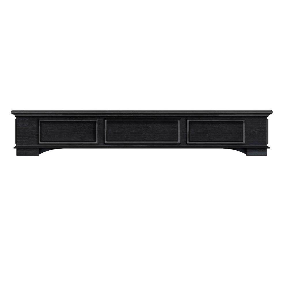 Cambridge 5 ft. Box Style Wood with Antique Black Cap-Shelf Mantel
