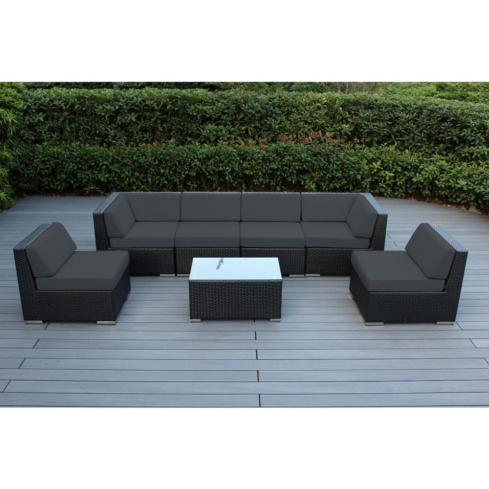Black 7-Piece Wicker Patio Seating Set with Spuncrylic Gray Cushions