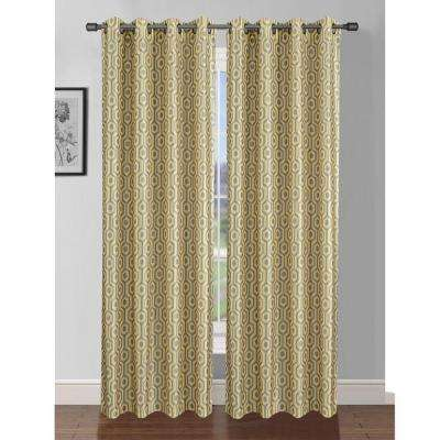 Semi-Opaque Camille Printed Faux Silk 84 in. L Grommet Curtain Panel Pair, Yellow/Grey (Set of 2)