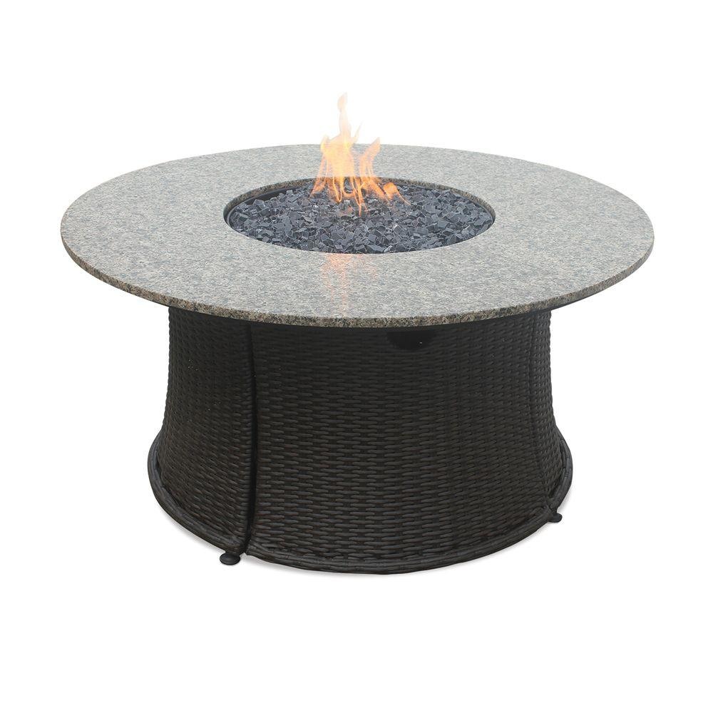 43 in. LP Fire Pit with Granite Mantel and Faux Wicker