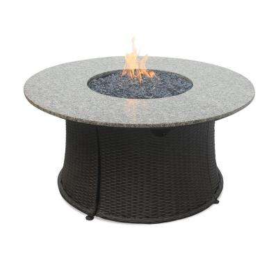 43 in. LP Fire Pit with Granite Mantel and Faux Wicker Base