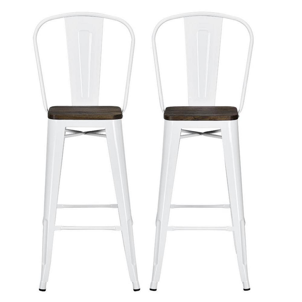 Dhp Lena 30 In White Metal Bar Stool With Wood Seat Set