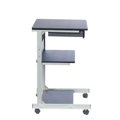 Graphite Rolling Laptop Cart with Storage