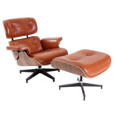 Brown Swivel Lounge Arm Chair with Ottoman Set
