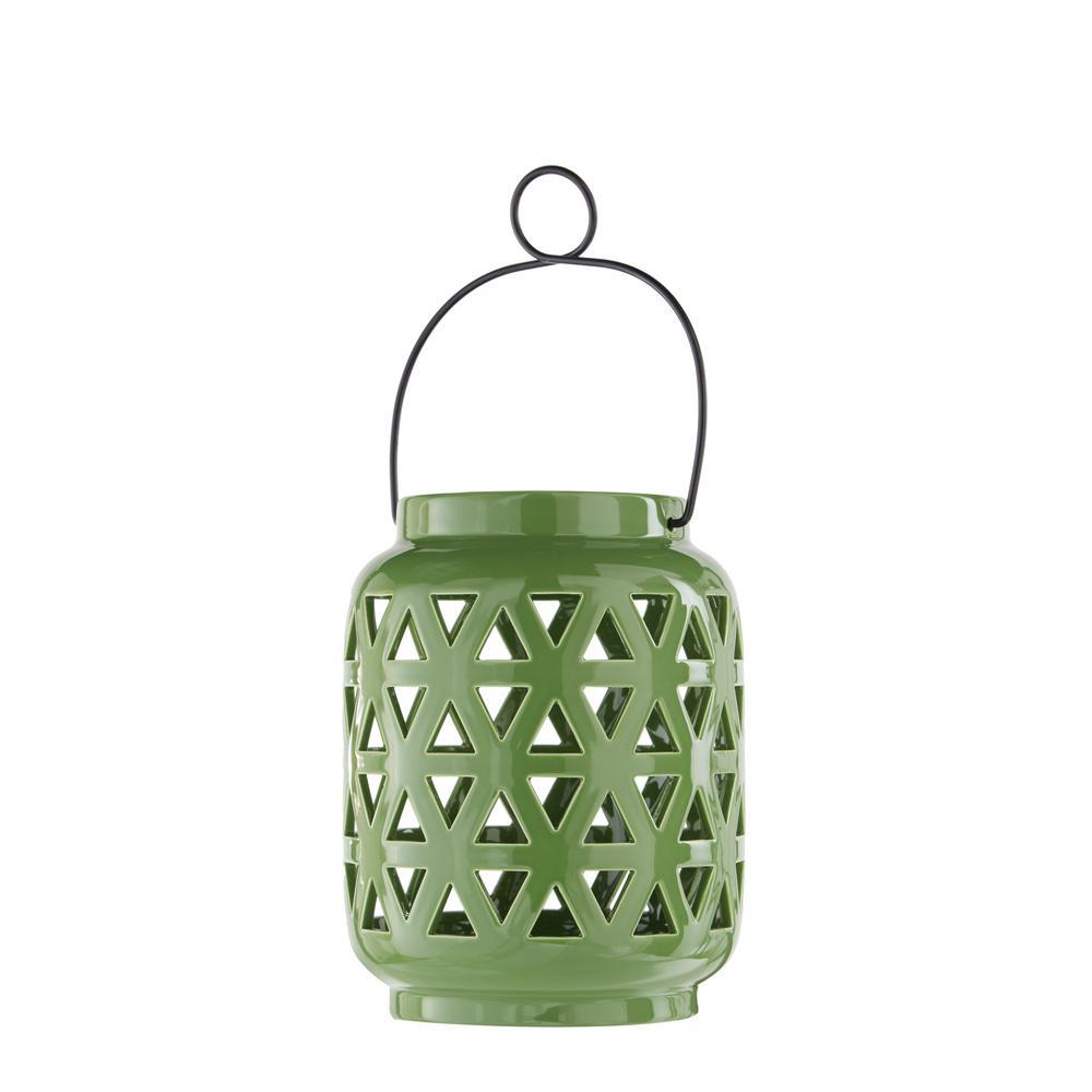 Hampton Bay 8.5 in. Ceramic Lantern in Fern