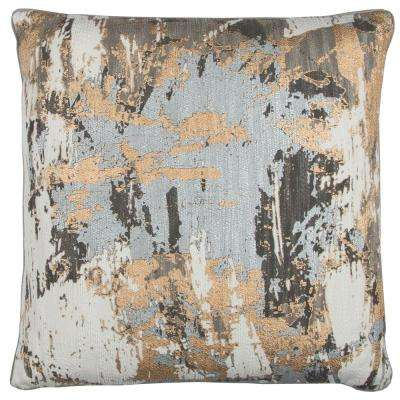 Gray Multicolor Cotton 20 in. X 20 in. Decorative Filled Throw Pillow