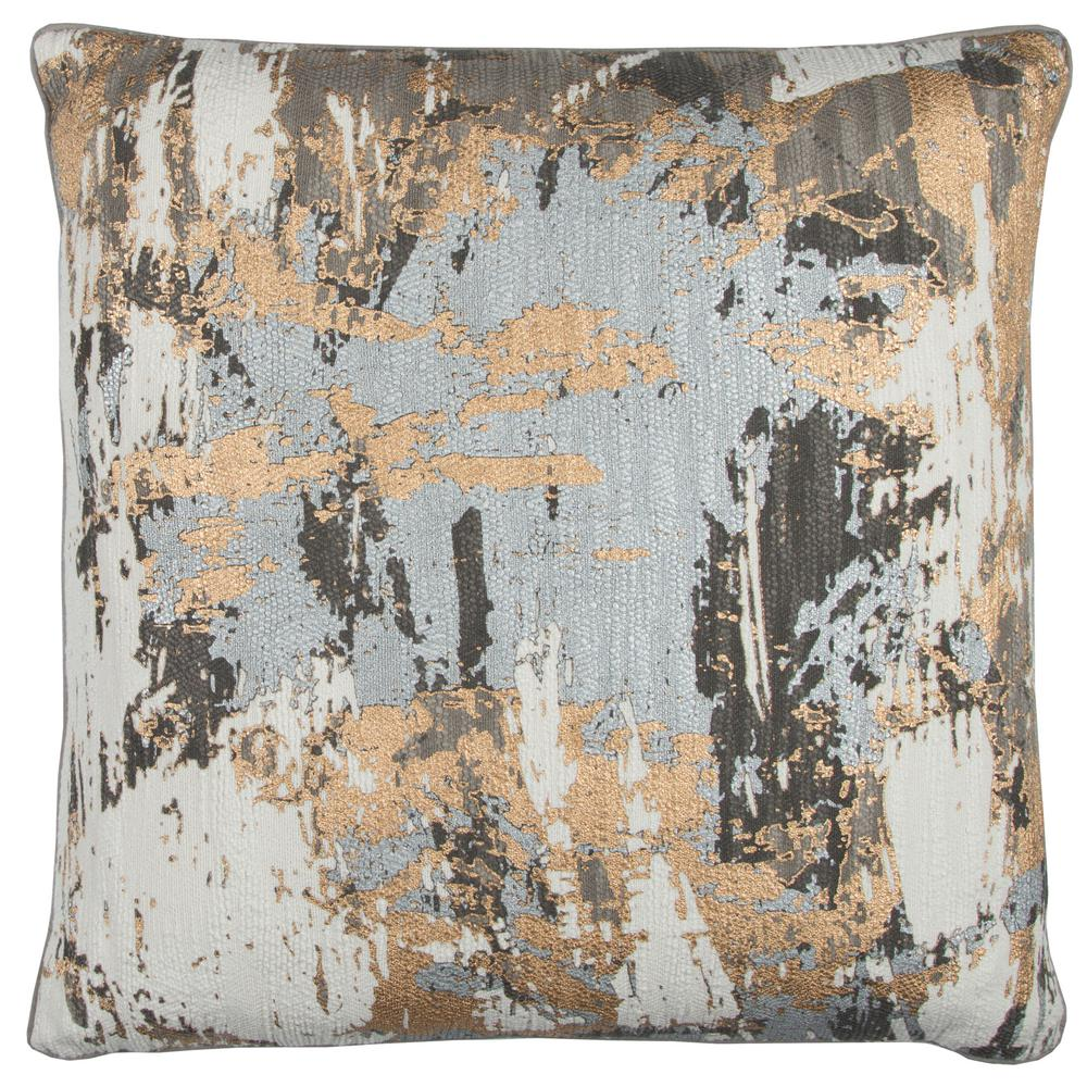 Gray Multicolor Cotton 20 in. X 20 in. Decorative Filled Throw
