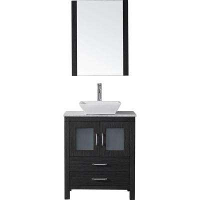 Dior 24 in. W Bath Vanity in Zebra Gray with Vanity Top in White Marble with Square Basin and Mirror and Faucet