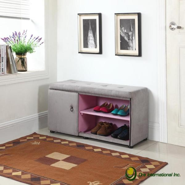 undefined Silver Grey Shoe Compartment Ottoman