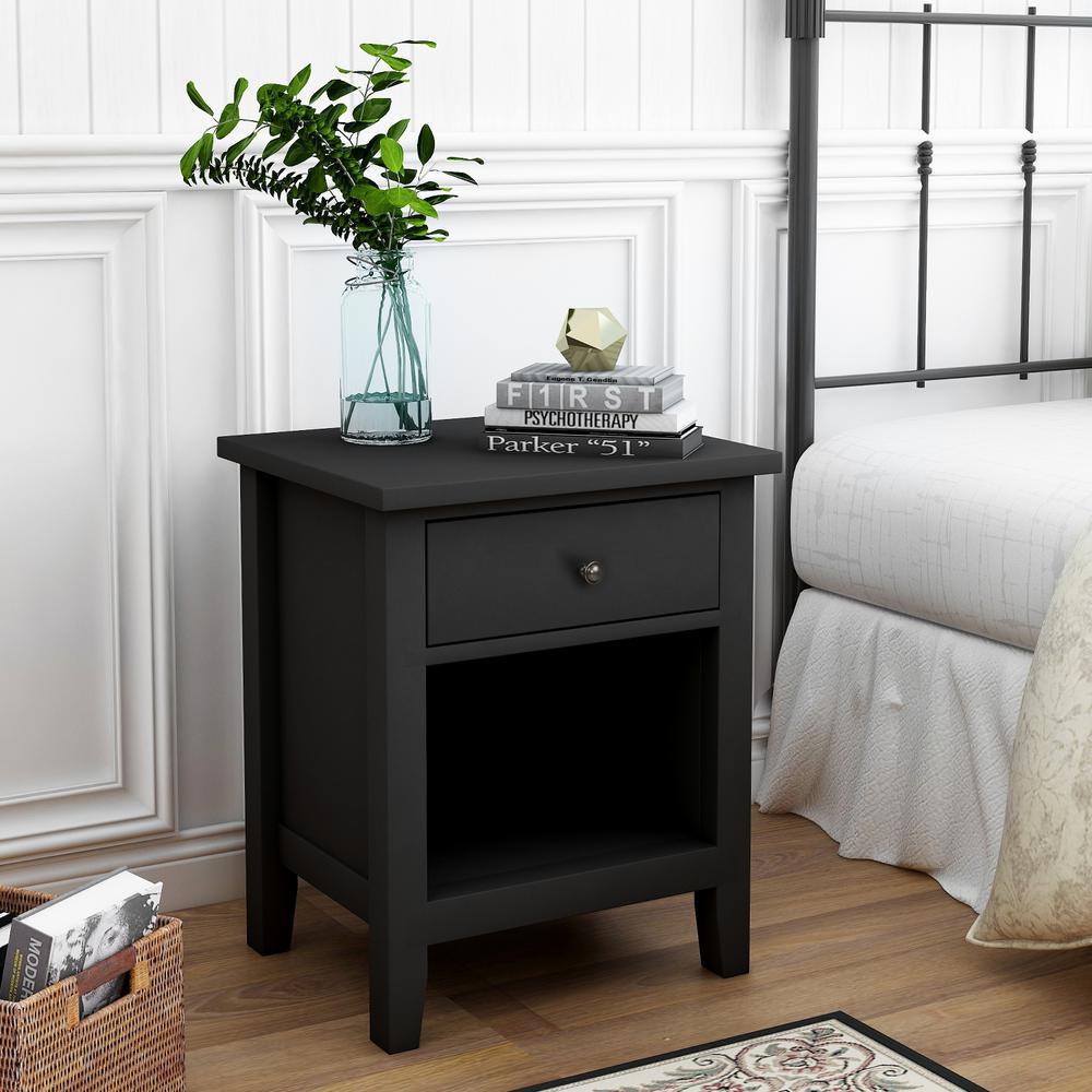 Modern 1-Drawer Wood Black Nightstand