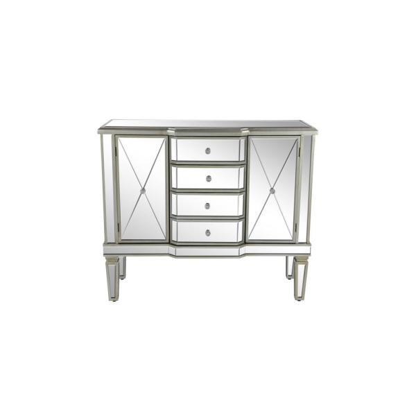 Litton Lane Silver Wooden Accent Cabinet with Mirrored Design 58764