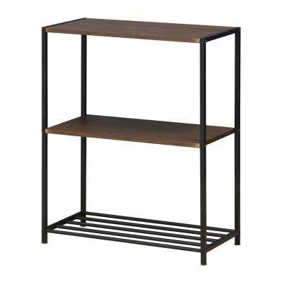 Modern 3-Tier Metal Storage Shelves in Dark Walnut