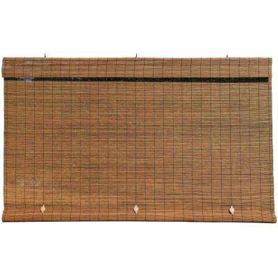 Fruitwood Cord-Free Interior/Exterior Matchstick Bamboo Manual Roll-Up Shade 96 in. W x 72 in. L