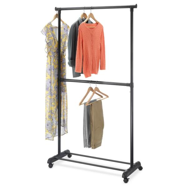 Whitmor Black Metal Clothes Rack With Wheels 37 In W X 70 In H 6898 10159 The Home Depot