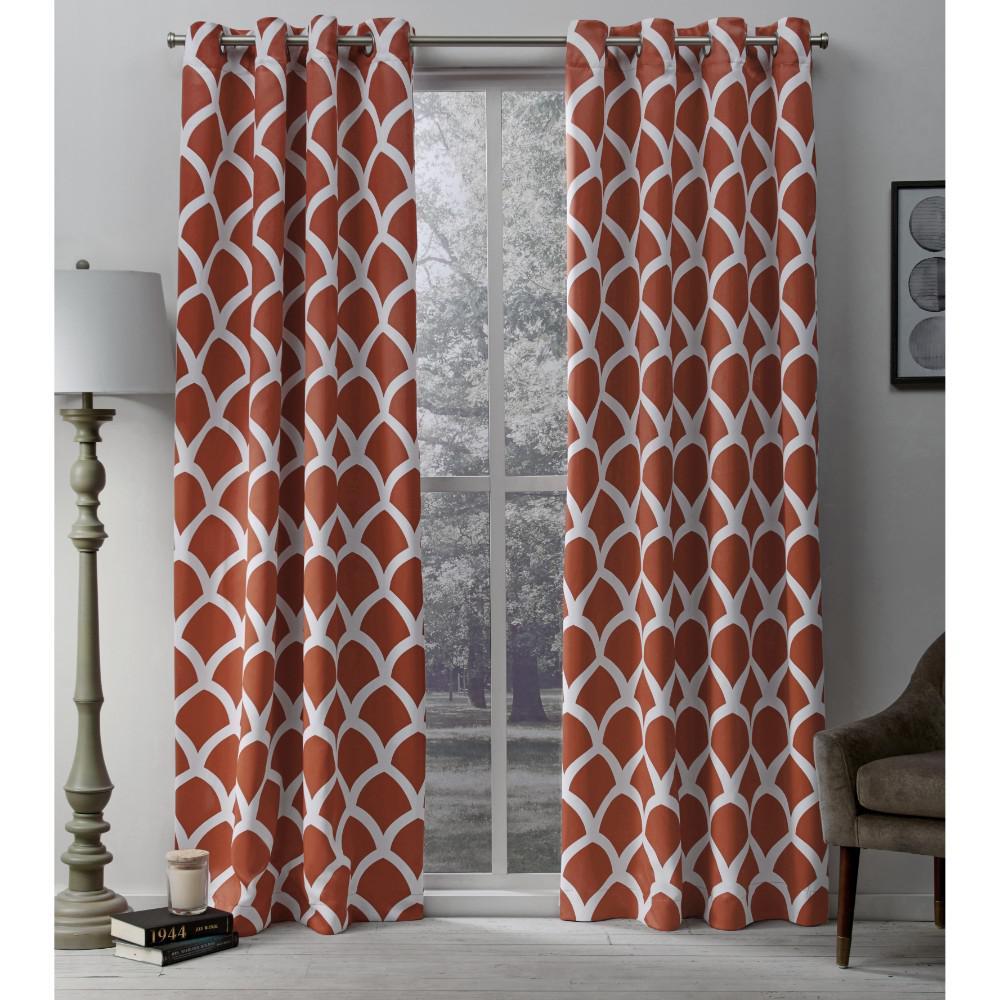 Durango 52 in. W x 96 in. L Woven Blackout Grommet Top Curtain Panel in Mecca Orange (2 Panels)