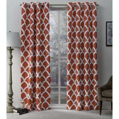 Durango 52 in. W x 96 in. L Woven Blackout Grommet Top Curtain Panel in Mecca Orange (2 Panels)