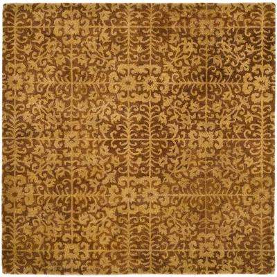 Antiquity Gold/Beige 8 ft. x 8 ft. Square Area Rug