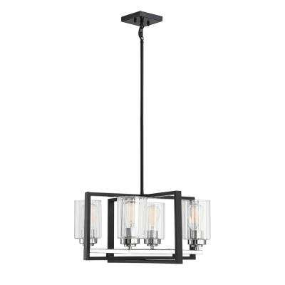 4-Light Matte Black with Polished Chrome Accents Chandelier with Clear Ribbed Glass