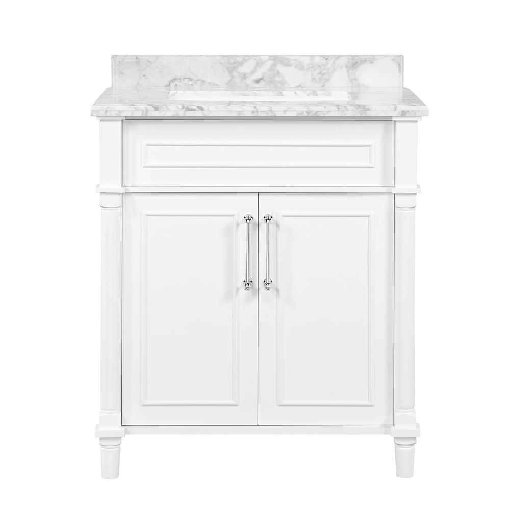 Aberdeen 30 in. x 22 in. D Bath Vanity in White with Carrara Marble Vanity Top in White with White Basin
