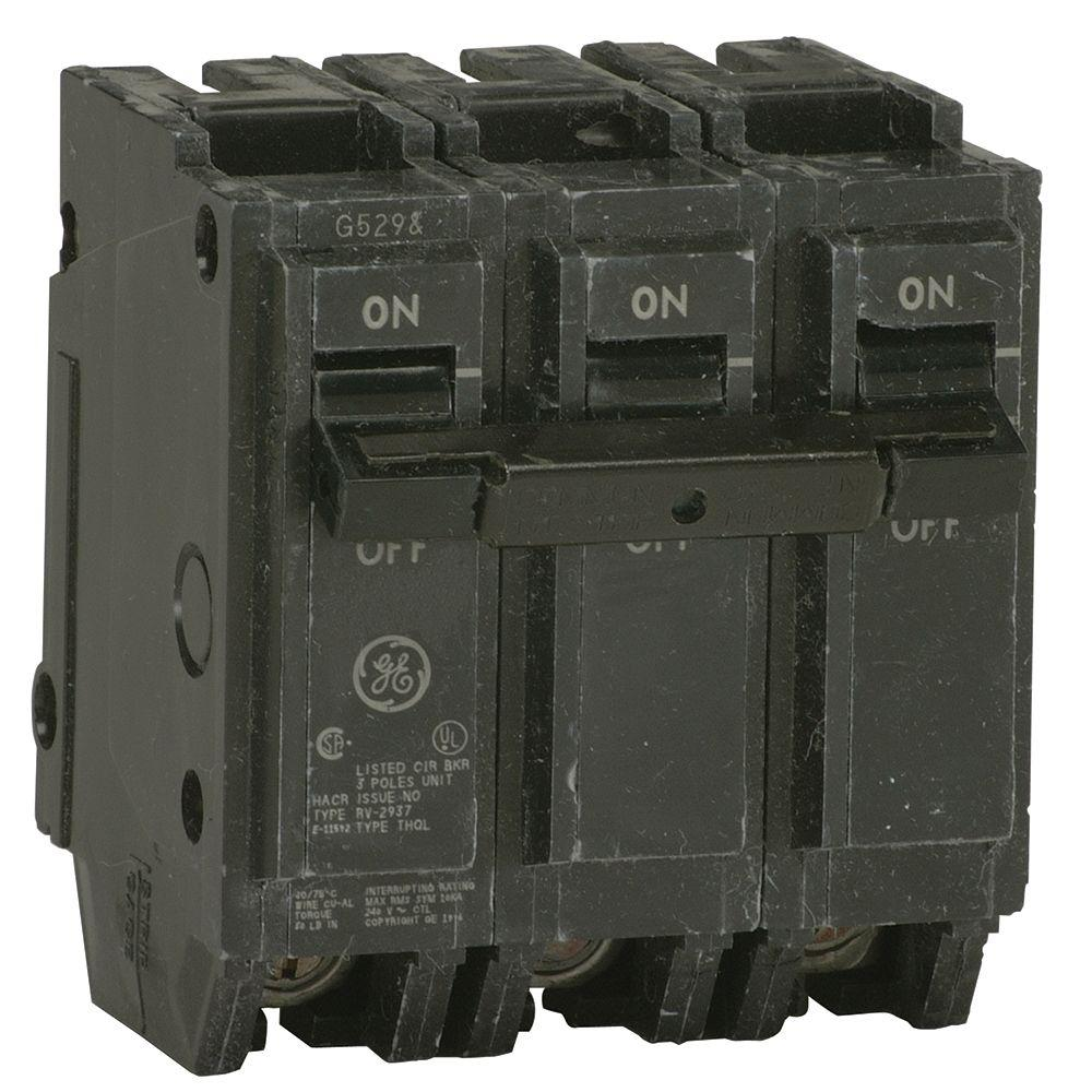 GE Q-Line 20 Amp 3 in. Triple-Pole Circuit Breaker-THQL32020 - The ...