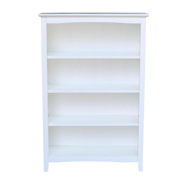 48 in. White Wood 4-shelf Standard Bookcase with Adjustable Shelves