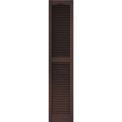 15 in. x 72 in. Louvered Vinyl Exterior Shutters Pair in #009 Federal Brown