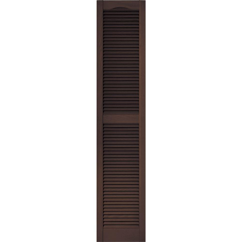 Builders Edge 15 in. x 72 in. Louvered Vinyl Exterior Shutters Pair in #009 Federal Brown