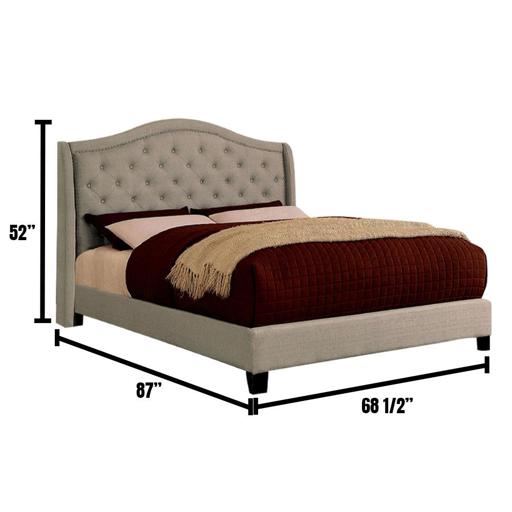 William S Home Furnishing Carly In Warm Gray Queen Bed Cm7160q Bed The Home Depot
