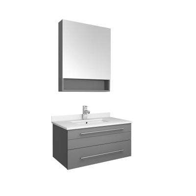 Lucera 30 in. W Wall Hung Vanity in Gray with Quartz Stone Vanity Top in White with White Basin and Medicine Cabinet