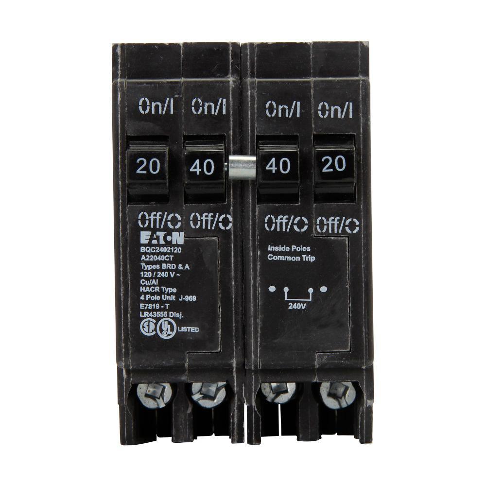 BR 1-40 Amp 2 Pole and 2-20 Amp 1-Pole BQC (Common Trip) Quad Circuit Breaker