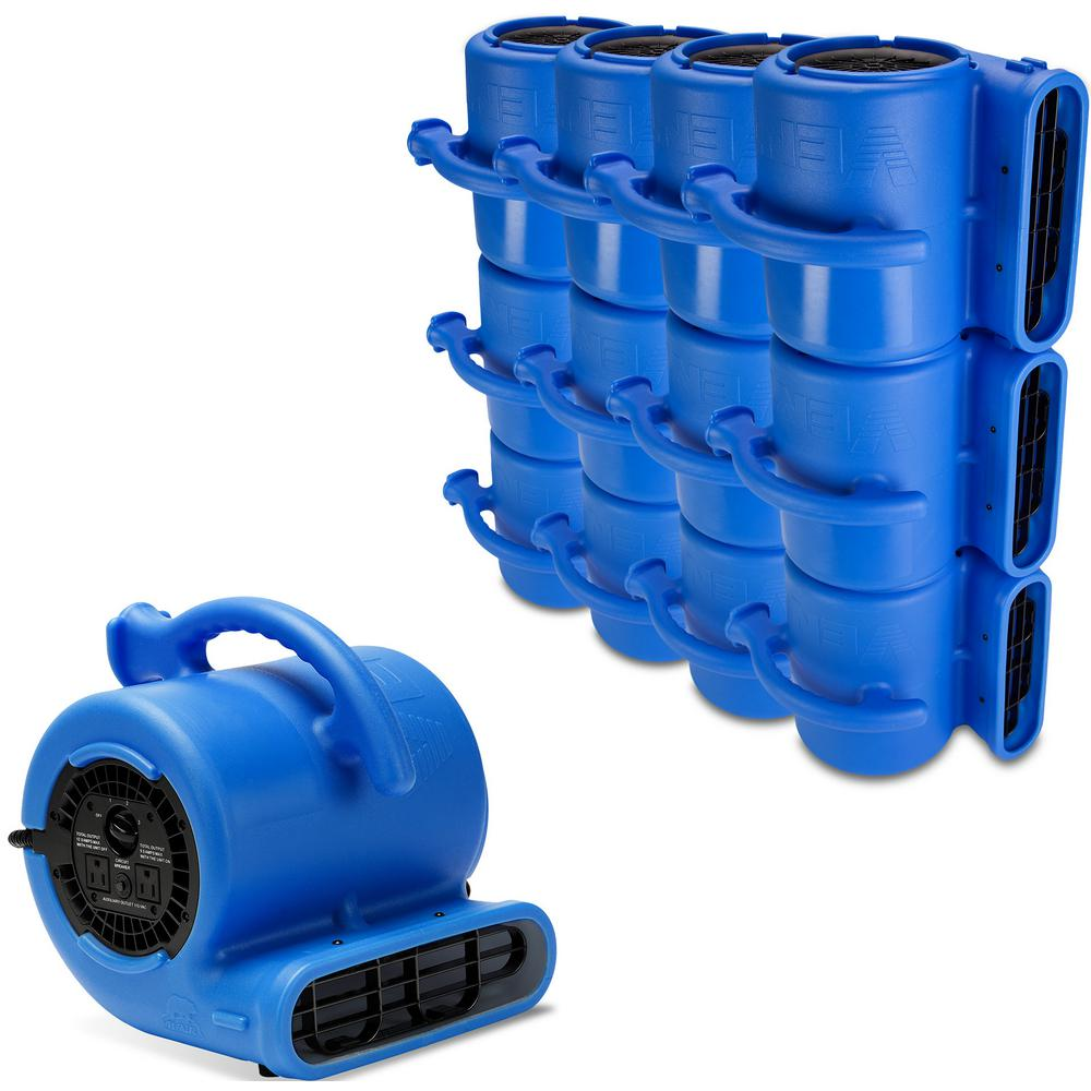 B-Air 1/4 HP Air Mover for Water Damage Restoration Carpet Dryer Floor Blower Fan Home and Plumbing in Blue (84-Pack)