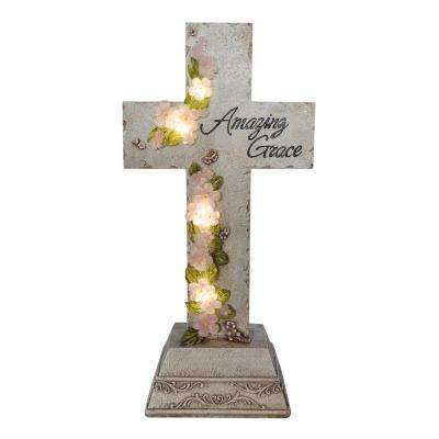 Amazing Grace Cross Solar Powered Integrated LED Outdoor Landscape Garden Light