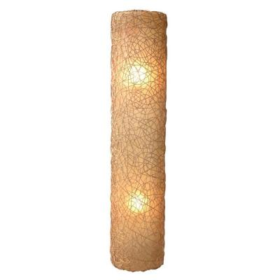 Modern 2-Light Amber Half Moon Shaped Wall Sconce with Natural Rattan Accent