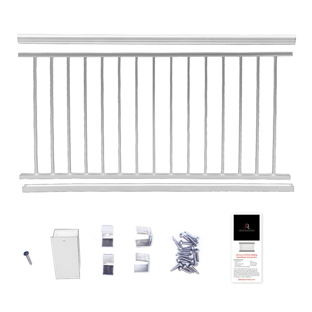 36 in. x 8 ft. White  Powder Coated Aluminum Preassembled Deck