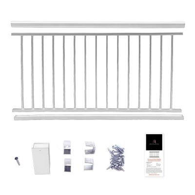 36 in. x 8 ft. White  Powder Coated Aluminum Preassembled Deck Railing