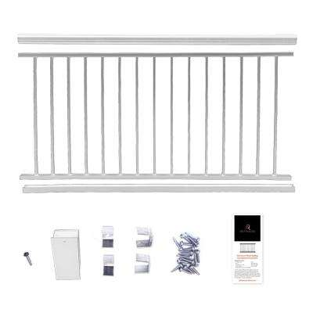 36 in. x 8 ft. White Powder Coated Aluminum Preassembled Deck Railing