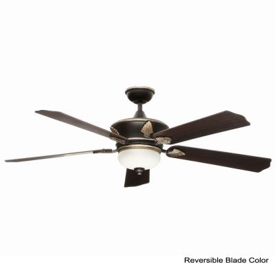 Wineberg 60 in. Indoor Old World Gold Ceiling Fan with Light Kit and Remote Control