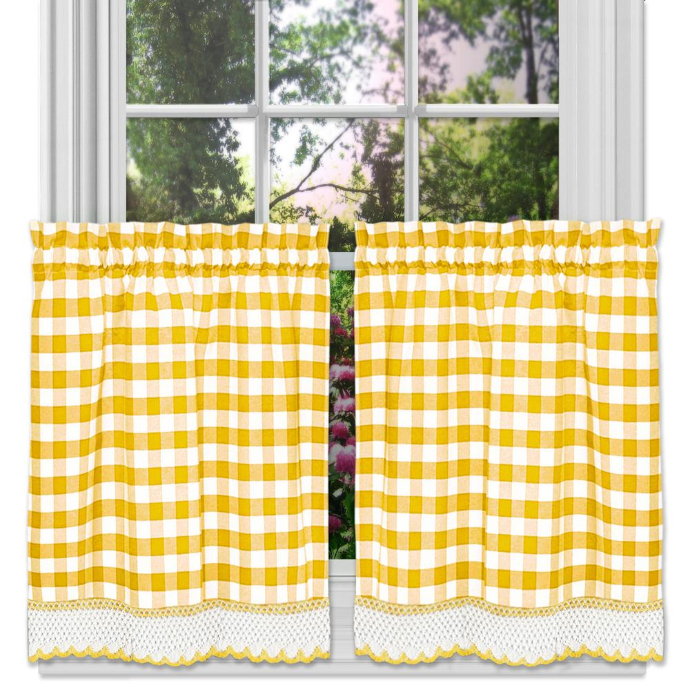 Achim Buffalo Check Yellow Polyester/Cotton Rod Pocket Tier Pair with Macrame Trim - 58 in. W x 24 in. L