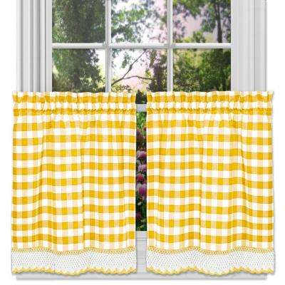 Buffalo Check Yellow Polyester/Cotton Rod Pocket Tier Pair with Macrame Trim - 58 in. W x 24 in. L