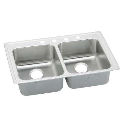Lustertone Drop-In Stainless Steel 33 in. 4-Hole Double Bowl ADA Compliant Kitchen Sink with 5.5 in. Bowls