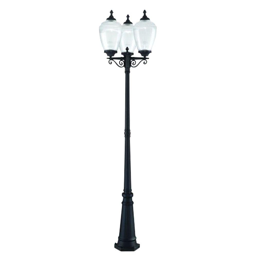 Acclaim Lighting Acorn 3-Head 3-Light Matte Black Outdoor Post Light Combination