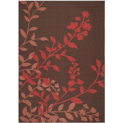 Courtyard Chocolate/Red 7 ft. x 10 ft. Indoor/Outdoor Area Rug