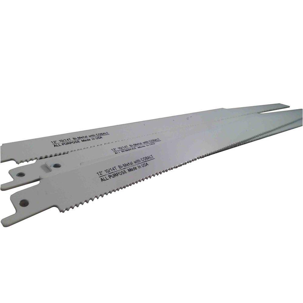 12 in. 10/14 Teeth per in. All-Purpose Cutting Bi-Metal Reciprocating Saw Blade (5-Pack)
