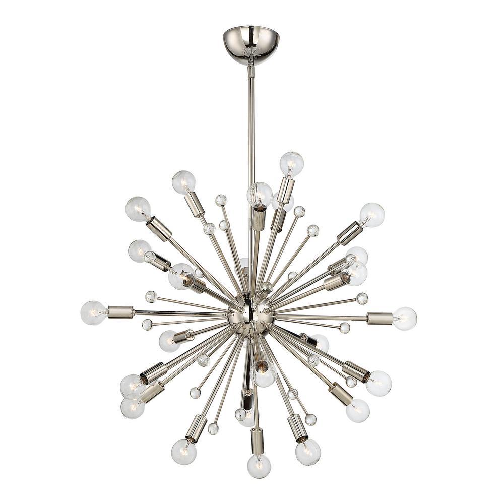 24-Light Polished Nickel Chandelier
