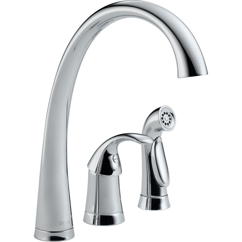 delta faucets for kitchen delta pilar waterfall single handle standard kitchen faucet with side sprayer in chrome 4380 dst 2769