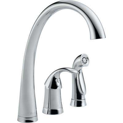Pilar Waterfall Single-Handle Standard Kitchen Faucet with Side Sprayer in Chrome